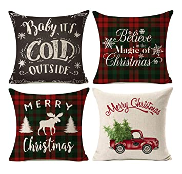kithomer set of 4 christmas decorations pillow covers christmas buffalo plaid farmhouse decor throw pillow cases