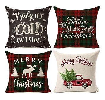 Plaid Christmas Pillows.Kithomer Set Of 4 Christmas Decorations Pillow Covers Christmas Buffalo Plaid Farmhouse Decor Throw Pillow Cases Cushion Cover 18 X 18 Inch