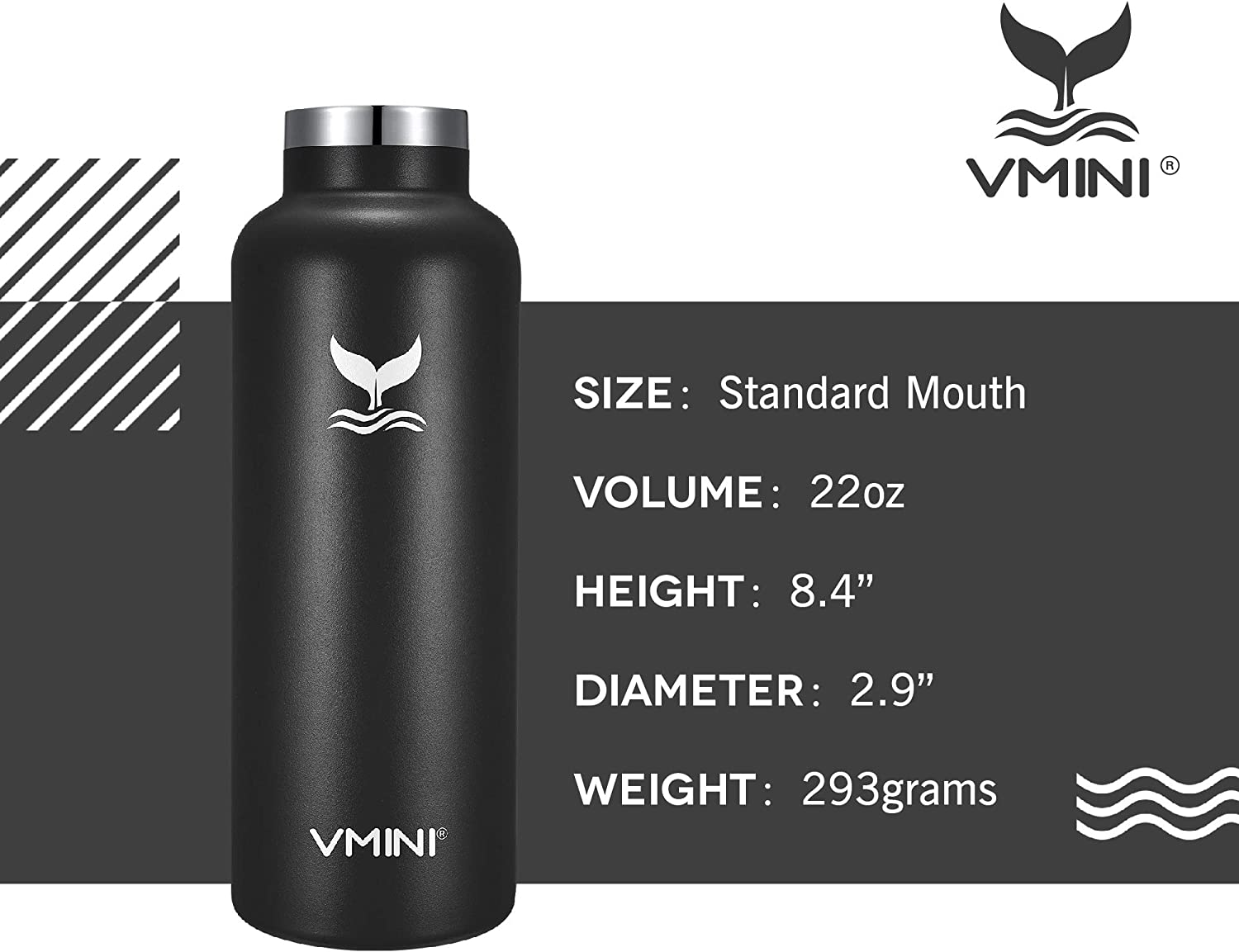 New Straw Lid with Wide Handle Vmini Water Bottle Gradient Yellow+Pink /& 22 oz Standard Mouth Stainless Steel /& Vacuum Insulated Bottle