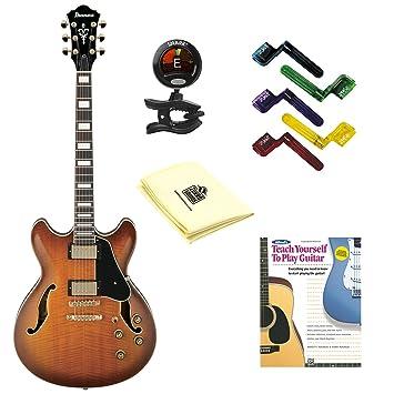 Ibanez Artcore AS93 guitarra eléctrica Violín Sunburst con gamuza de limpieza, pegwinders, sintonizador, y guía libro: Amazon.es: Instrumentos musicales