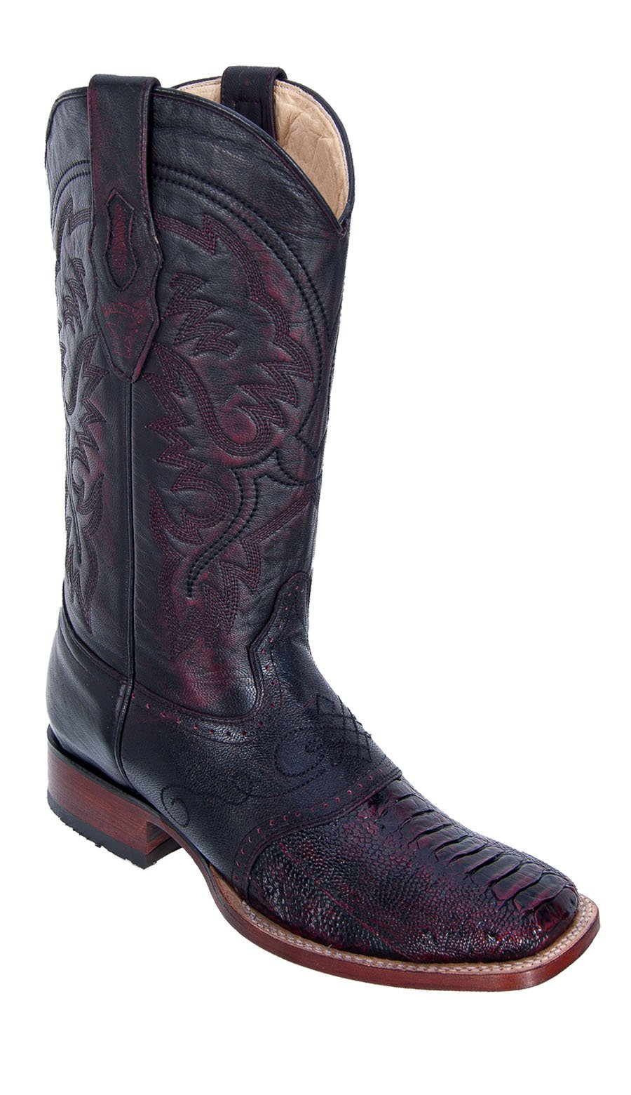 Men's Wide Square Toe Black Cherry Genuine Leather Ostrich Leg w/Saddle Skin Western Boots by Los Altos