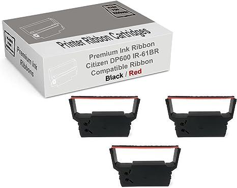 Amazon.com: Citizen DP600 rojo y negro cinta impresora 3 ...