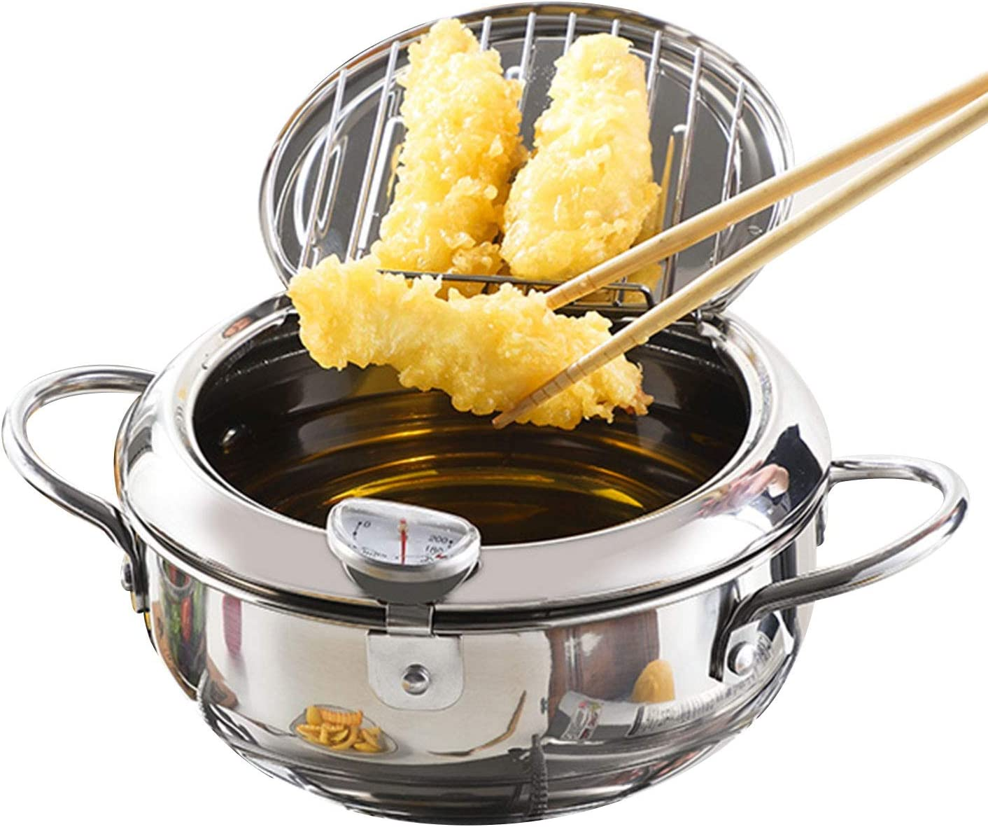 Stainless Steel Deep Frying Pot Japanese Style Deep Frying Pan Tempura Deep Fryer Pot with Thermometer and Oil Drip Drainer Rack
