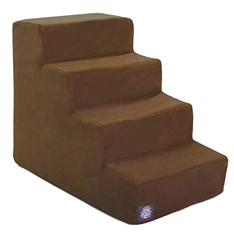 4 Step Chocolate Brown Suede Pet Stairs By Majestic Pet Products