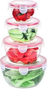Fresh Friend Food Storage Containers with Lids Airtight, Plastic Leakproof Bowls BPA Free, Stackable Kitchen Freezer Containers for Food Lunch, Christmas Gift, Set of 4