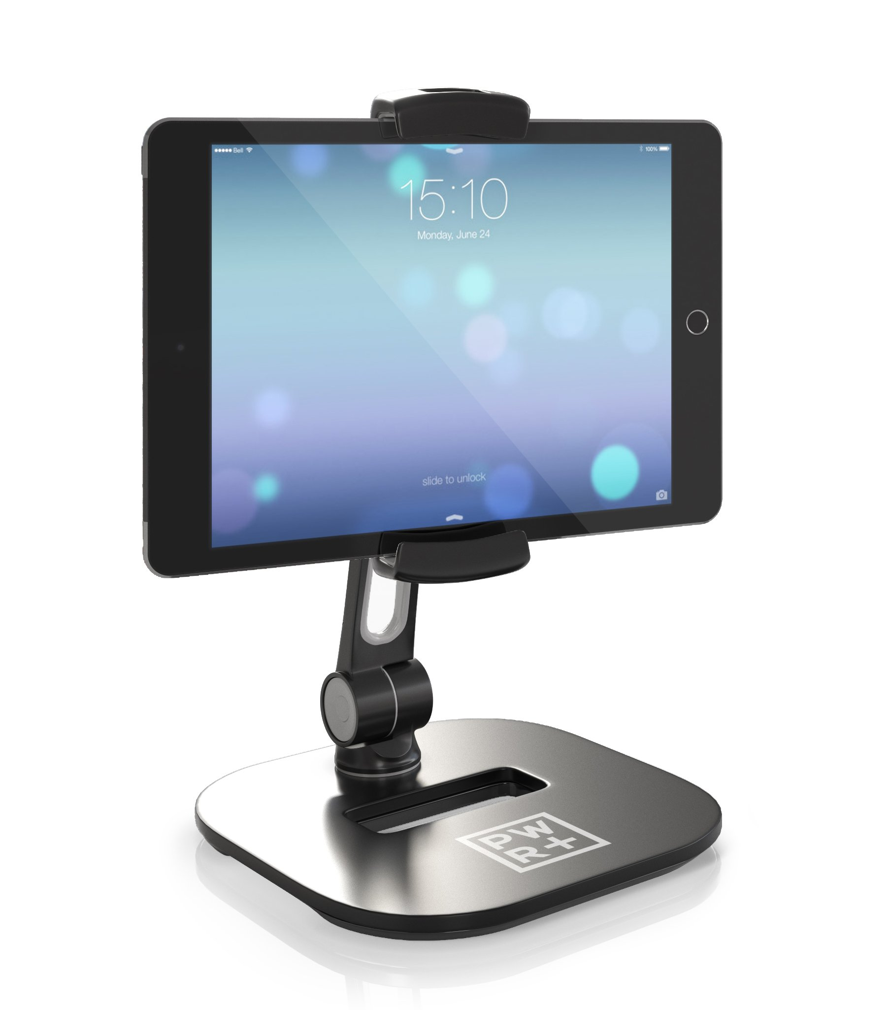 Tablet Stands and Holders Adjustable: Pwr Stylish Tablet Cell Phone Holder 360 degree Swivel Angle Rotation for 4-11'' Tab Phone iPad Samsung Galaxy Perfect POS Kitchen Bedside Office Table Reception by PWR+