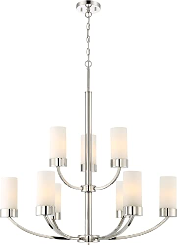 Nuvo 60 6229 Nine Light Chandelier, 2 Tier-9, Polished Nickel