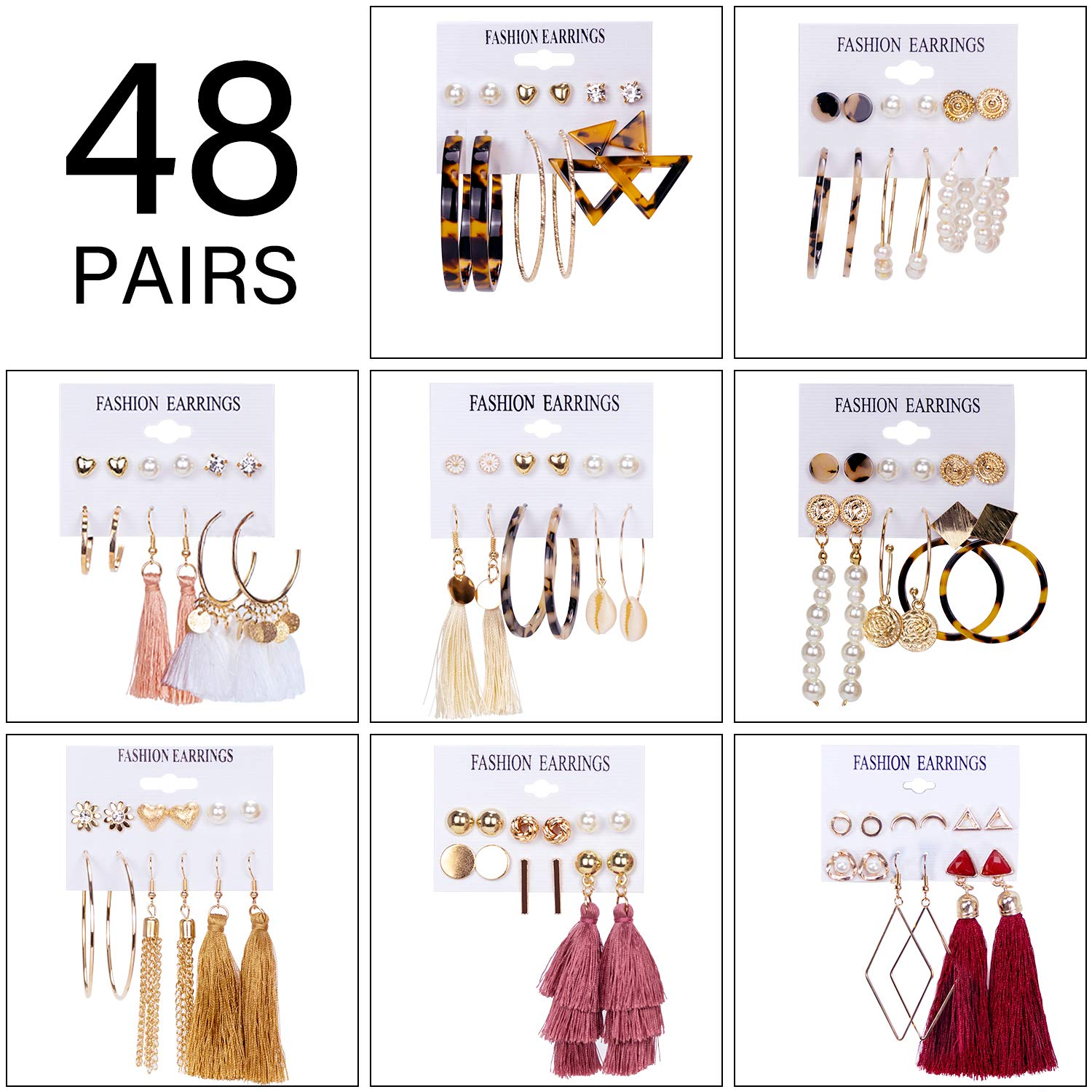 Amazon coupon code for 48 Pairs Tassel Earrings for Women Fashion