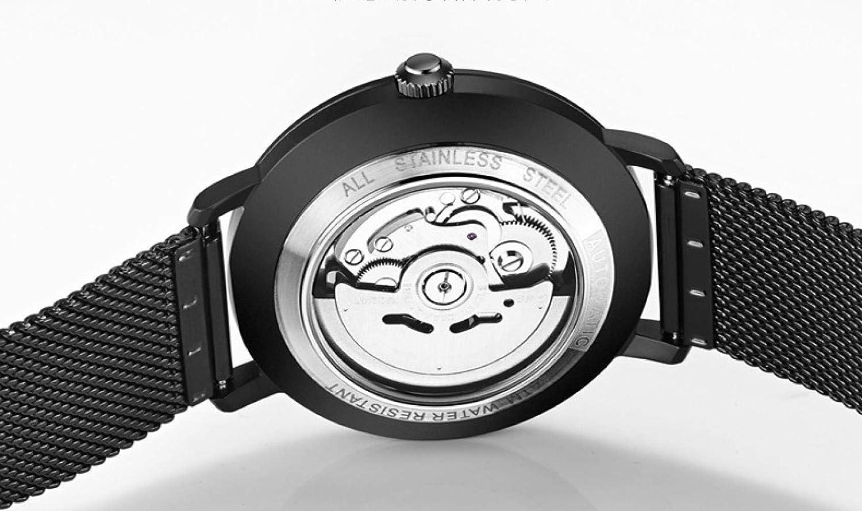 Herrklockor, helt automatisk mekanisk klocka lysande vattentät stålklocka Black-faced Black Shell Steel Strip