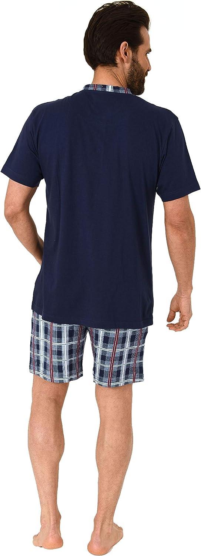 Herren Shorty Kurzarm Schlafanzug mit Karierter kurzer Hose und Knopfleiste am Hals