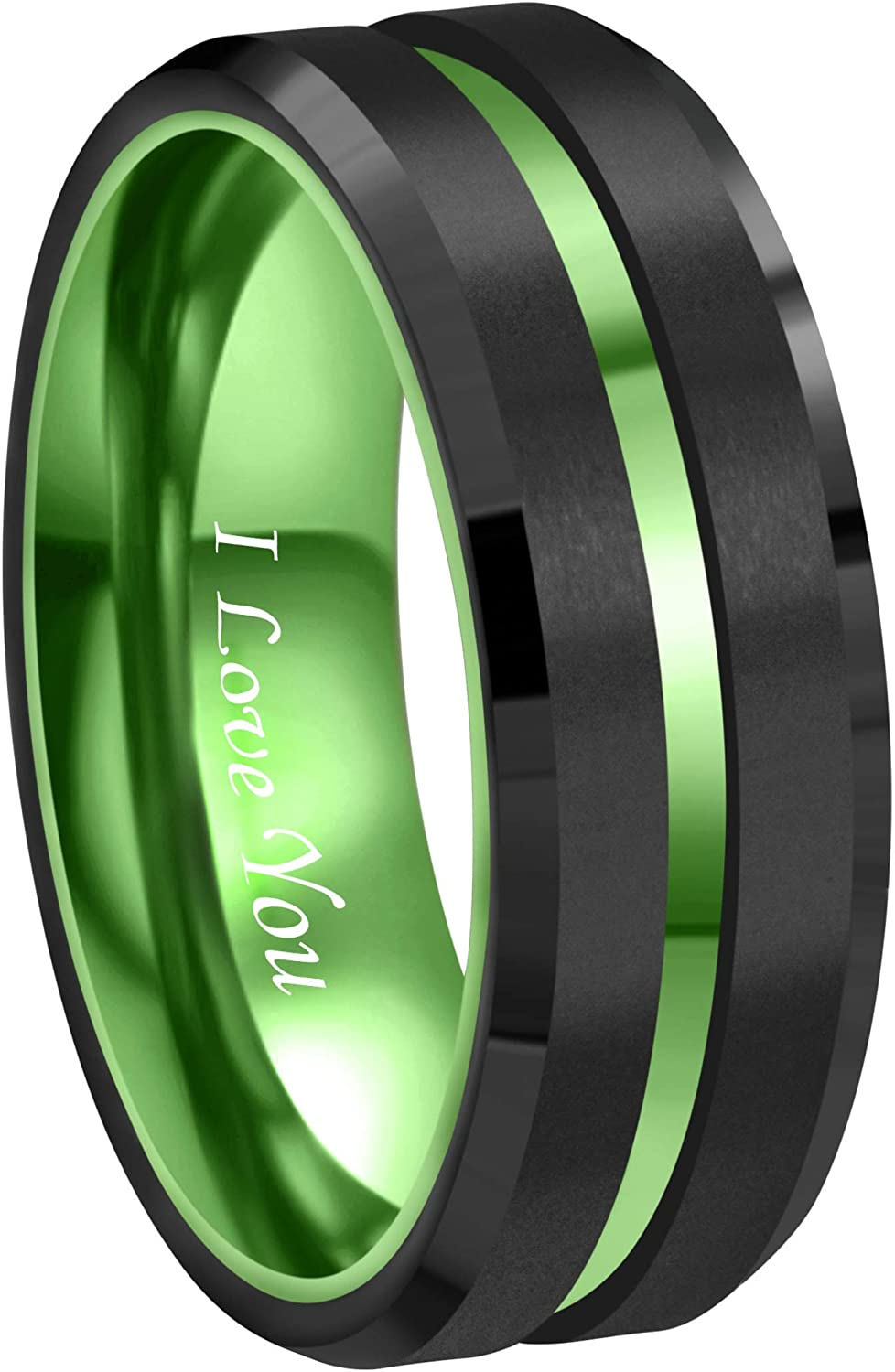 RoyalKay 8mm Green Black Tungsten Wedding Band Ring Men Women Matte Finish Polished Green Groove Engraved I Love You Comfort Fit Size 6 to 16