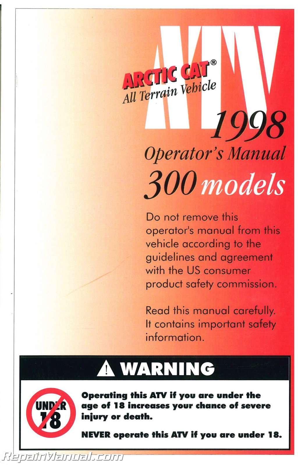 2255-676 1998 Arctic Cat 300 ATV Owners Manual: Manufacturer: Amazon.com:  Books
