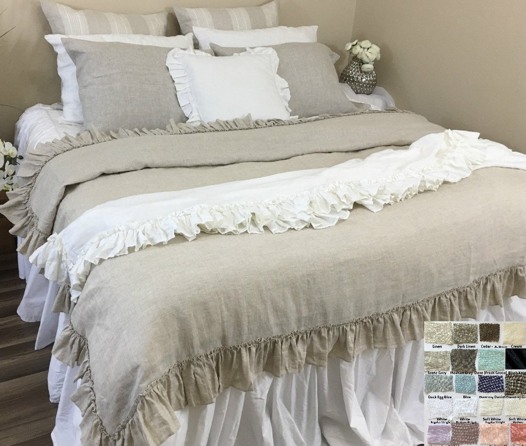 Image of Natural Linen Throw Blanket with Vintage Ruffles Styles, Timeless Ruffle Throw! Machine Washable! FREE SHIPPING