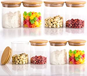 Glass Storage Jars, Glass Food Storage Containers with Sealed Bamboo Lids for Home Kitchen, Tea, Herbs, Sugar, Salt, Coffee, Weed, Flour, Candy, Cookie, Herbs, Grains (8, 450ML)