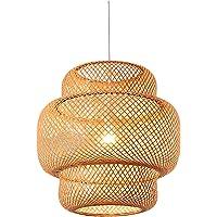 Baoblaze Abajur de vime tecido à mão, abajures estilo country redondos de bambu da sala de estar, loft, cozinha, teto…