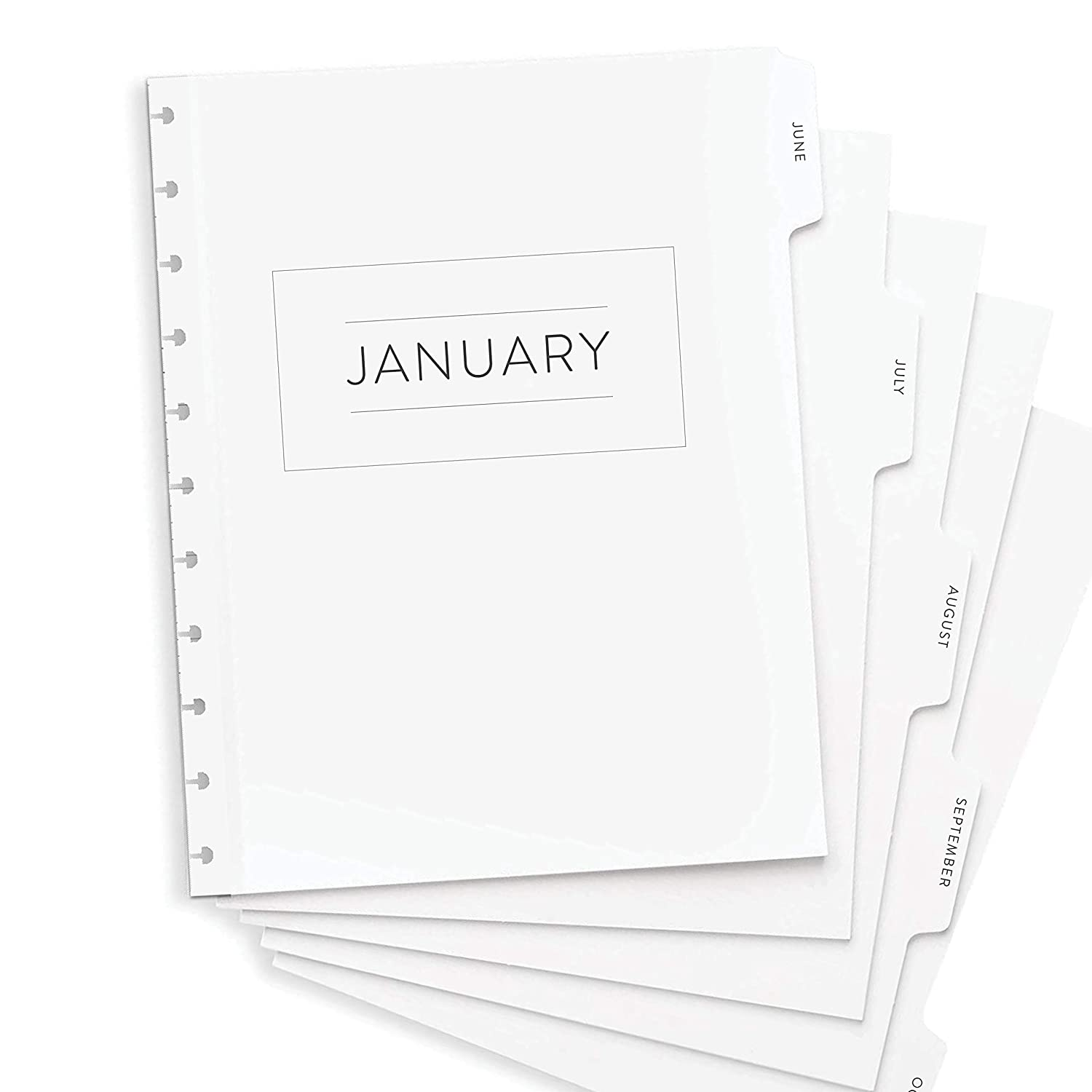 "BetterNote 2021 Monthly Calendar with Tabbed Dividers for Disc-Bound Planners, Fits 11-Disc Levenger Circa, Arc by Staples, TUL by Office Depot, Letter Size 8.5""x11"" Classic (Notebook Not Included)"