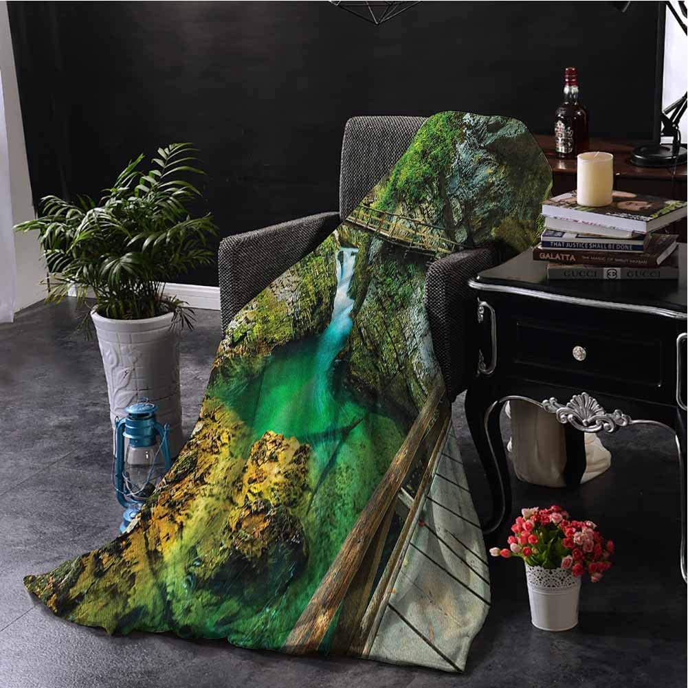 Landscape Children's Blanket Vintgar Gorge and Wooden Bridge Path to Cliffs with River Landscape Lightweight Soft Warm and Comfortable W57 x L74 Inch Green Turquoise Brown