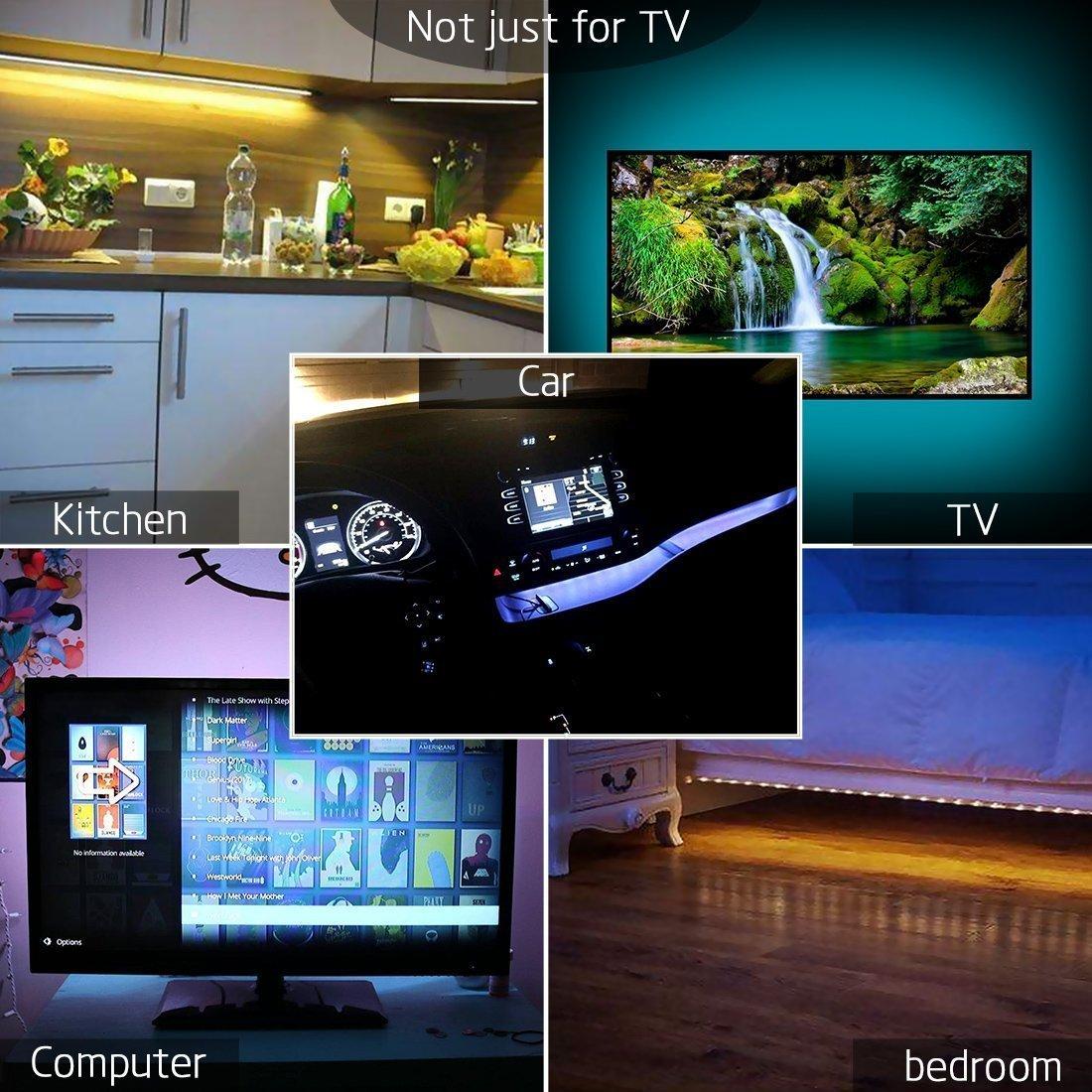3.28Ft USB LED Strip Light,SMY LED TV Backlight,RGB Multi-Colour LED Light Strip Kit Waterproof IP65,30LED with Wireless Remote Controller for TV//PC//Laptop Bias Lighting
