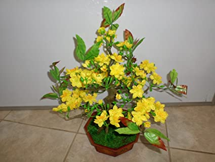 """plastic artificial yellow apricot flower tree without pot 40/"""" tall hoa mai"""