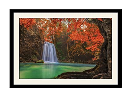 Artstory Wooden Waterfall Pond Framed Wall Painting 26 Cm X 16 Cm X