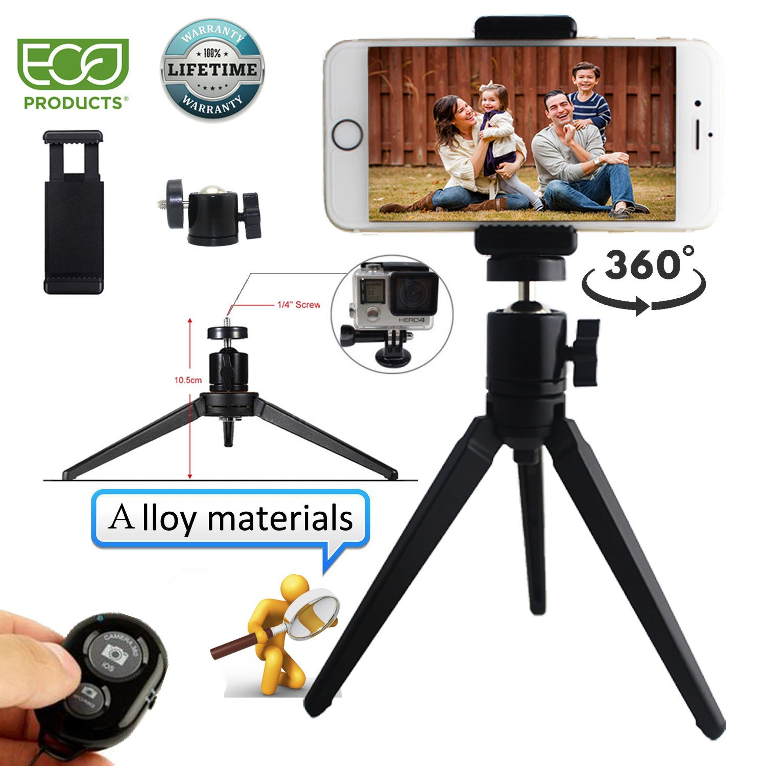 Phone Tripod Phone Stand with Camera Remote and Phone Holder for iPhone X 8/8s 7 7 Plus 6s Plus 6s 6 SE Samsung Galaxy S8 Plus S8 Edge S7 Action Camera GoPro/Akaso (Alloy Tripod)