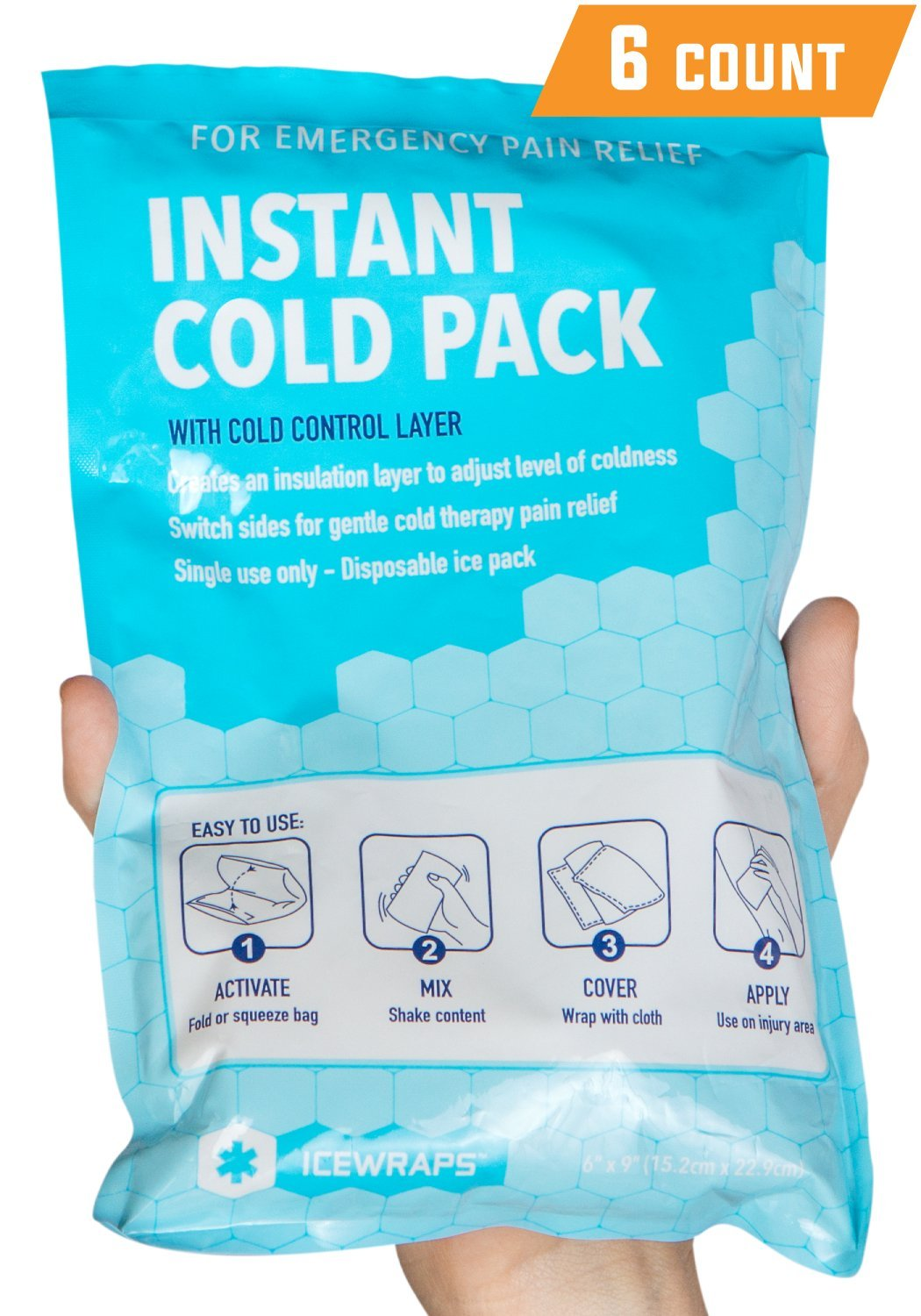 "IceWraps 6"" x 9"" Instant Cold Breakable Ice Packs - Emergency Disposable First Aid Ice Packs (6 Pack)"