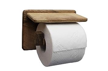 Hervorragend DEKAZIA Toilettenpapierhalter ohne Bohren aus Holz | mit Ablage GL83