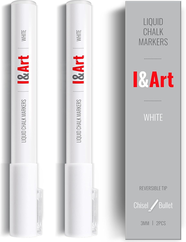 White Chalk Markers I&ART - White chalk pen fine tip 0.12in - 2 pcs for kids craft, Bistro, Mirrors, Glass, Windows, Blackboard, Chalkboard