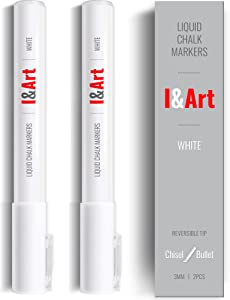 White Chalk Markers I&ART - Fine reversible...