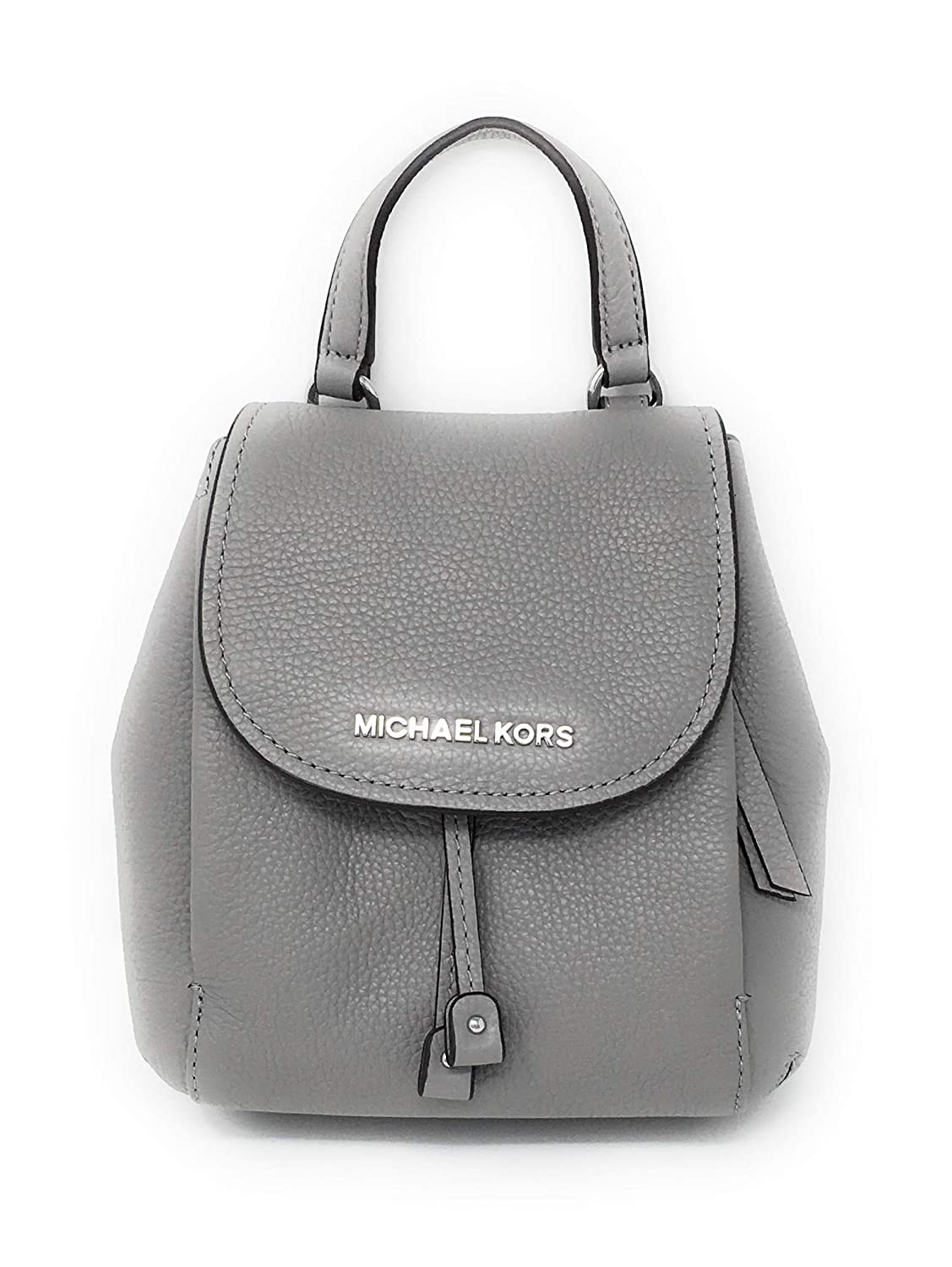 967d851b5774a9 Amazon.com: Michael Kors Riley Small Flap Drawstring Crossbody Pebbled  Leather AshGrey: RiteOnTime