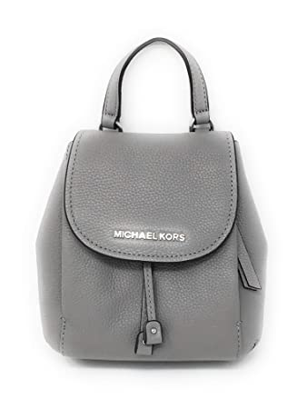 6fc5c775040b Amazon.com: Michael Kors Riley Small Flap Drawstring Crossbody Pebbled  Leather AshGrey: RiteOnTime