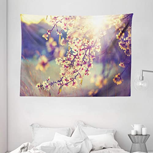 Ambesonne Nature Tapestry, Spring Season Romantic Flowers Blossoms Trees Sunbeams Artwork Photo, Wide Wall Hanging for Bedroom Living Room Dorm, 80 X 60 , Purple Grey