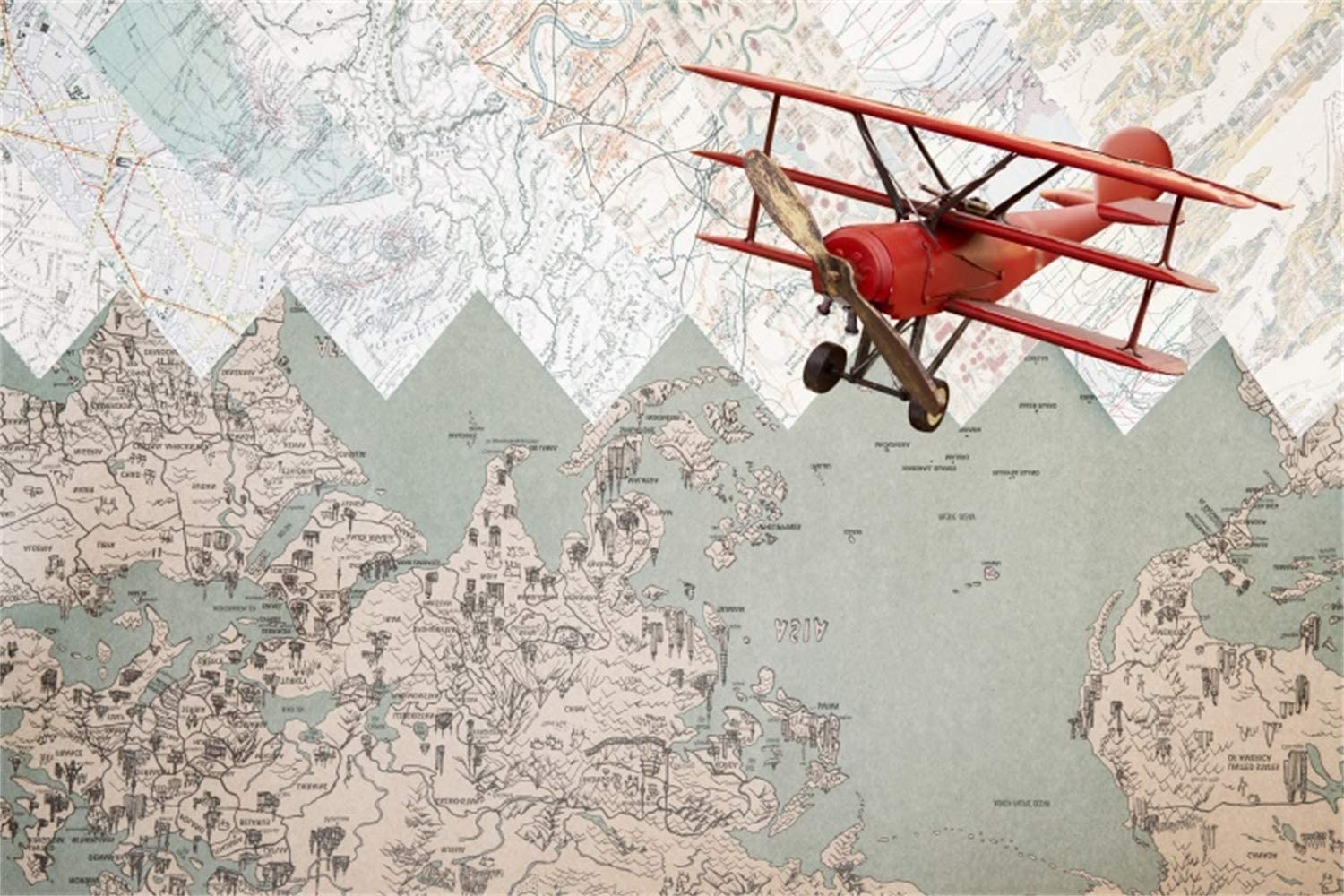 5x3ft Old Red Airplane Flying Across The Retro Map Scene Polyester Photography Background Nostalgia Style Backdrop Adult Portrait Shoot Indoor Decors Wallpaper Studio Props