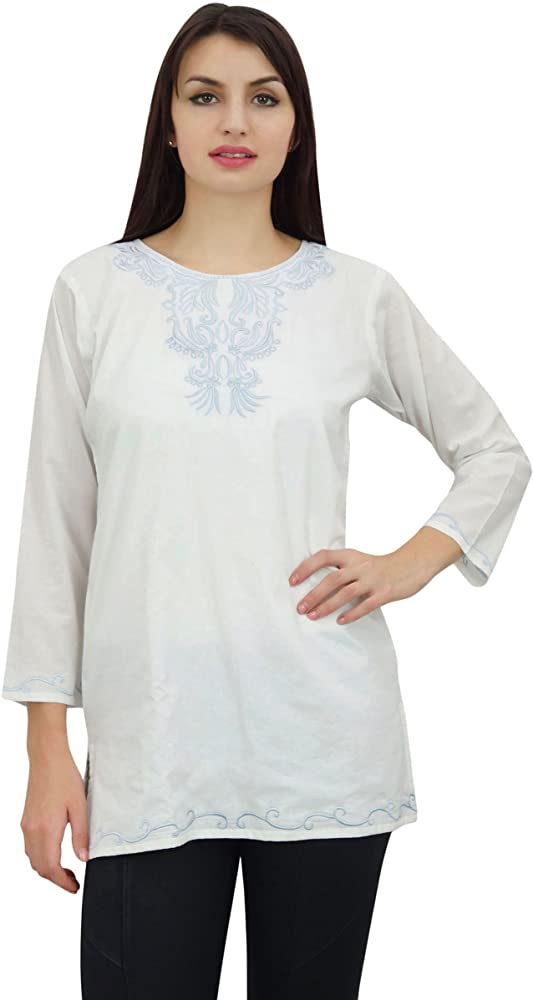 Phagun Blanca Bordada Ocasional de Las Mujer de Manga Larga Tops Camisa túnica de la Blusa - 36: Amazon.es: Ropa y accesorios