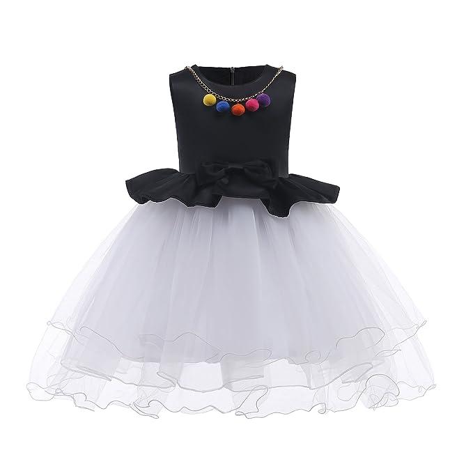 IPBEN Vestido Elegante Blanco Boda Fiesta para Niña Vestido de Princesa para Dama de Honor Infantil