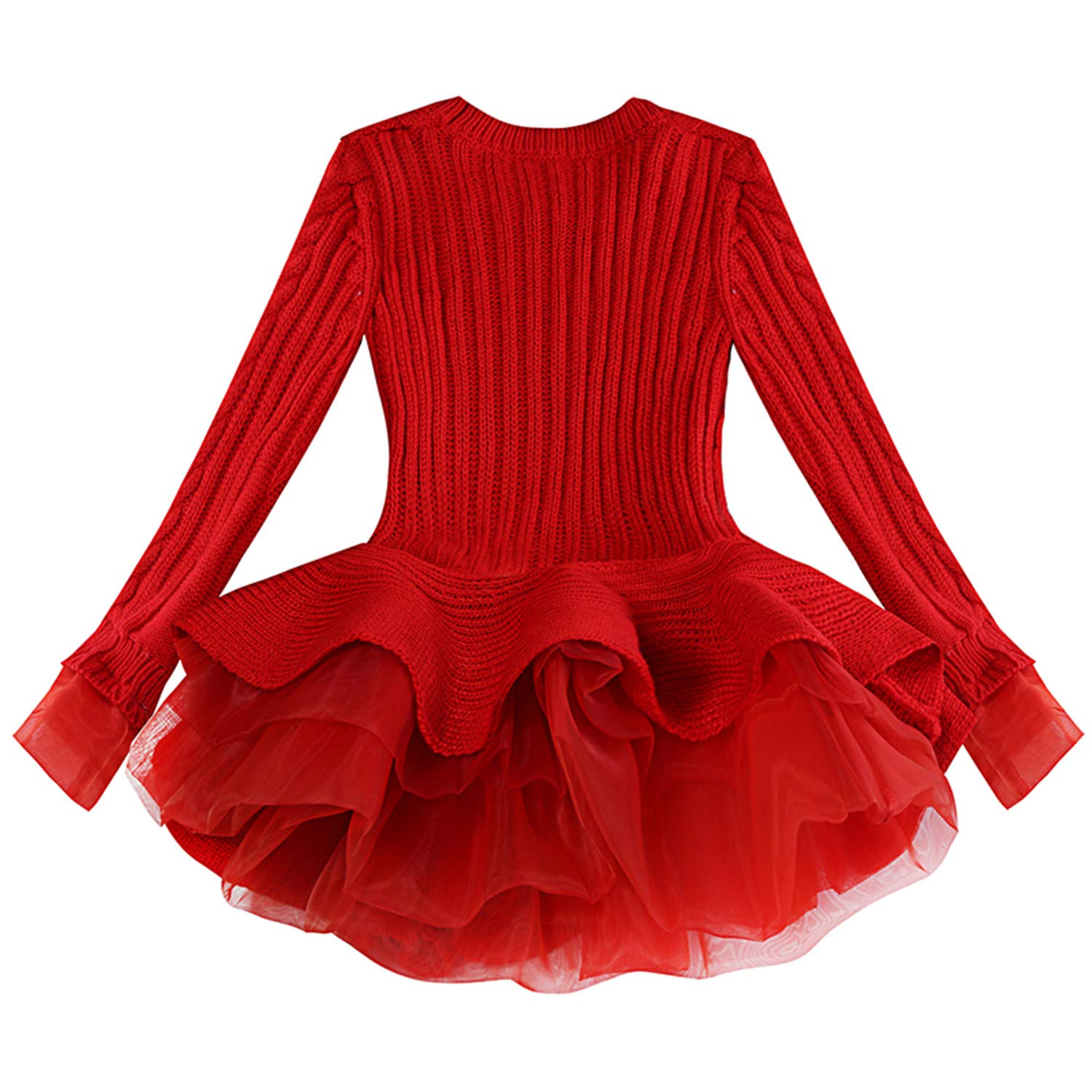 Showhole Baby Girl Clothes Organza Knitted Sweater Dress Long Sleeved Puff Princess Dress GirlsPullover Sweaters