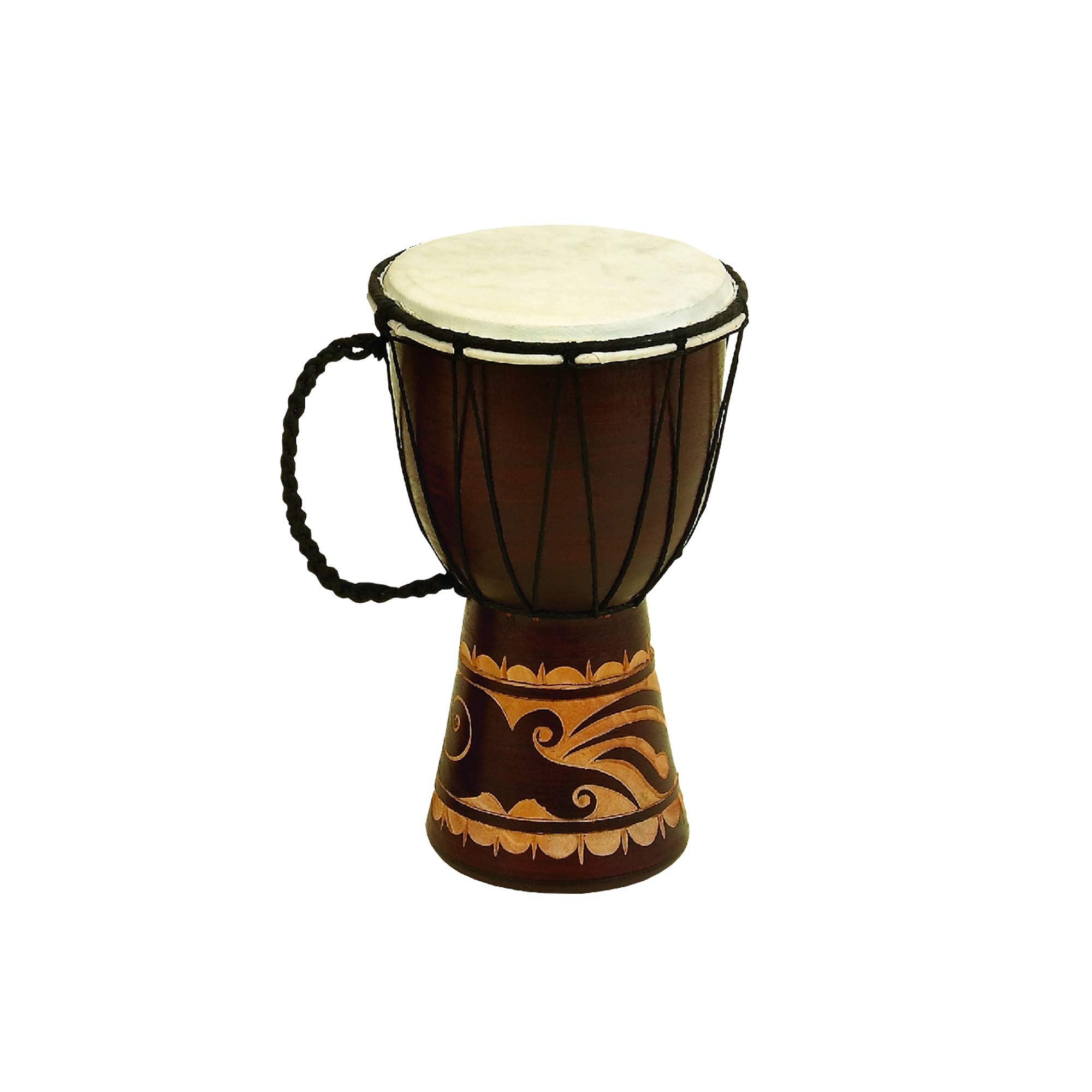 Benzara Decorative Wood and Faux Leather Djembe Drum with Side Handle, Small, Brown and Cream, by Benzara