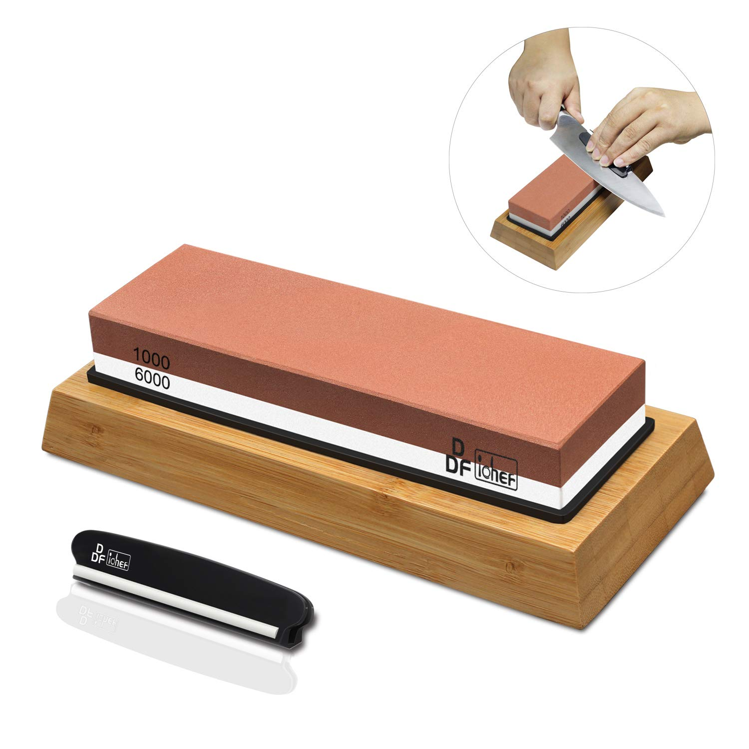 Knife Sharpening Stone, Whetstone Sharpener 1000/6000 2 Sided Grit Non-Slip Bamboo and Silicon Base Angle Guide for Chef Knife,Kitchen Knife,Hunting Knife by DDF iohEF