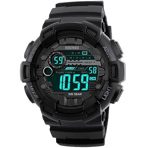 Reloj de pulsera digital estilo militar para hombre con luz LED, diseño casual, resistente al agua con cronómetro, cronógrafo, alarma y calendario, ...