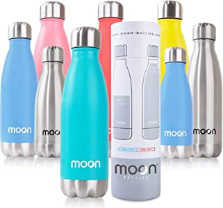 Moon Water Bottle - Premium Insulated Stainless Steel Metal Bottles 500ml - 24hrs Cold 12hrs Hot - Double Walled, Reusable, BPA Free, Leakproof, Lifetime Guarantee