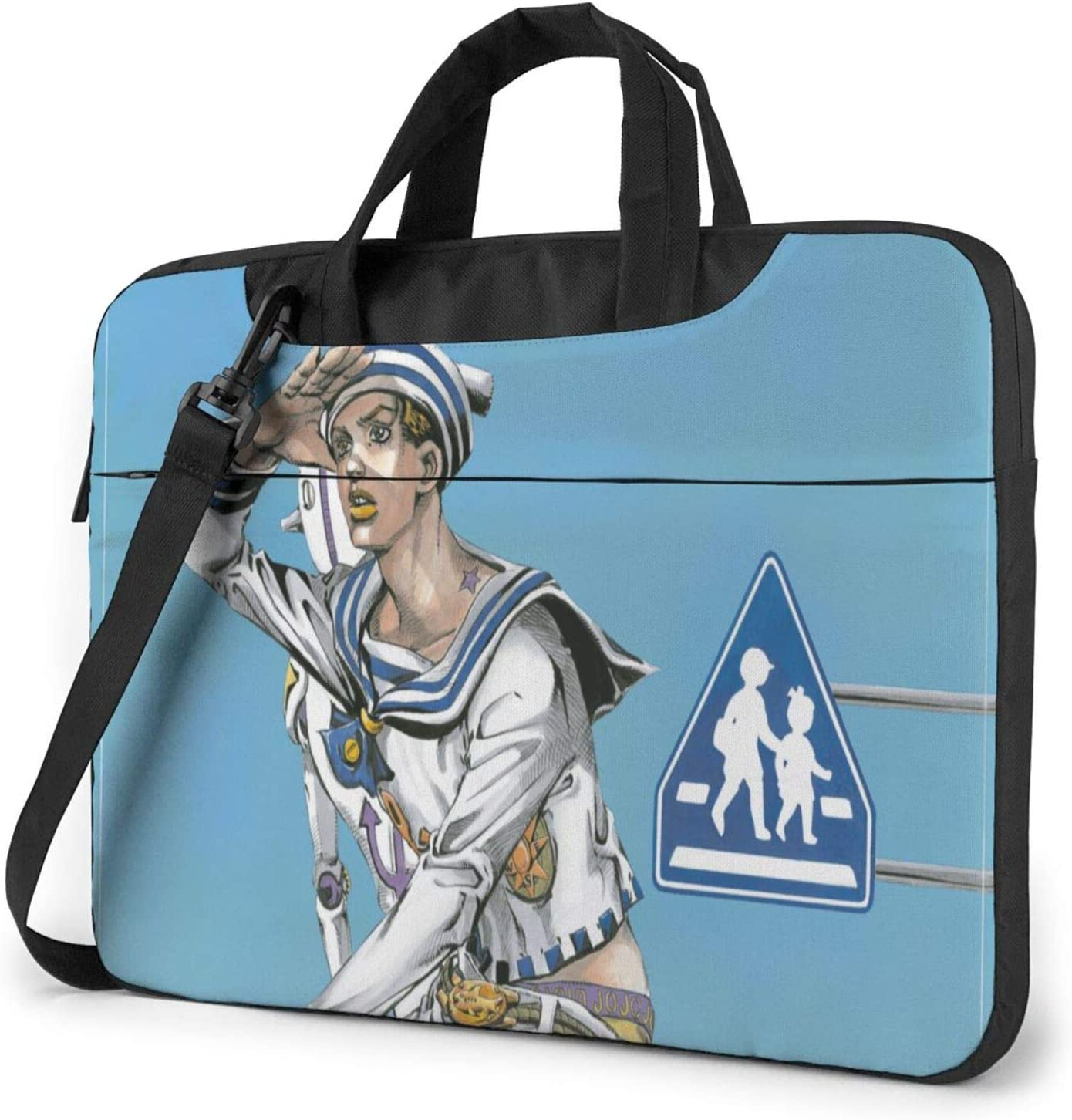 15.6 inch Laptop Sleeve Bag, JoJo's Bizarre Adventure Tablet Briefcase Ultra Portable Protective Shoulder Shockproof Laptop Canvas Cover MacBook Air