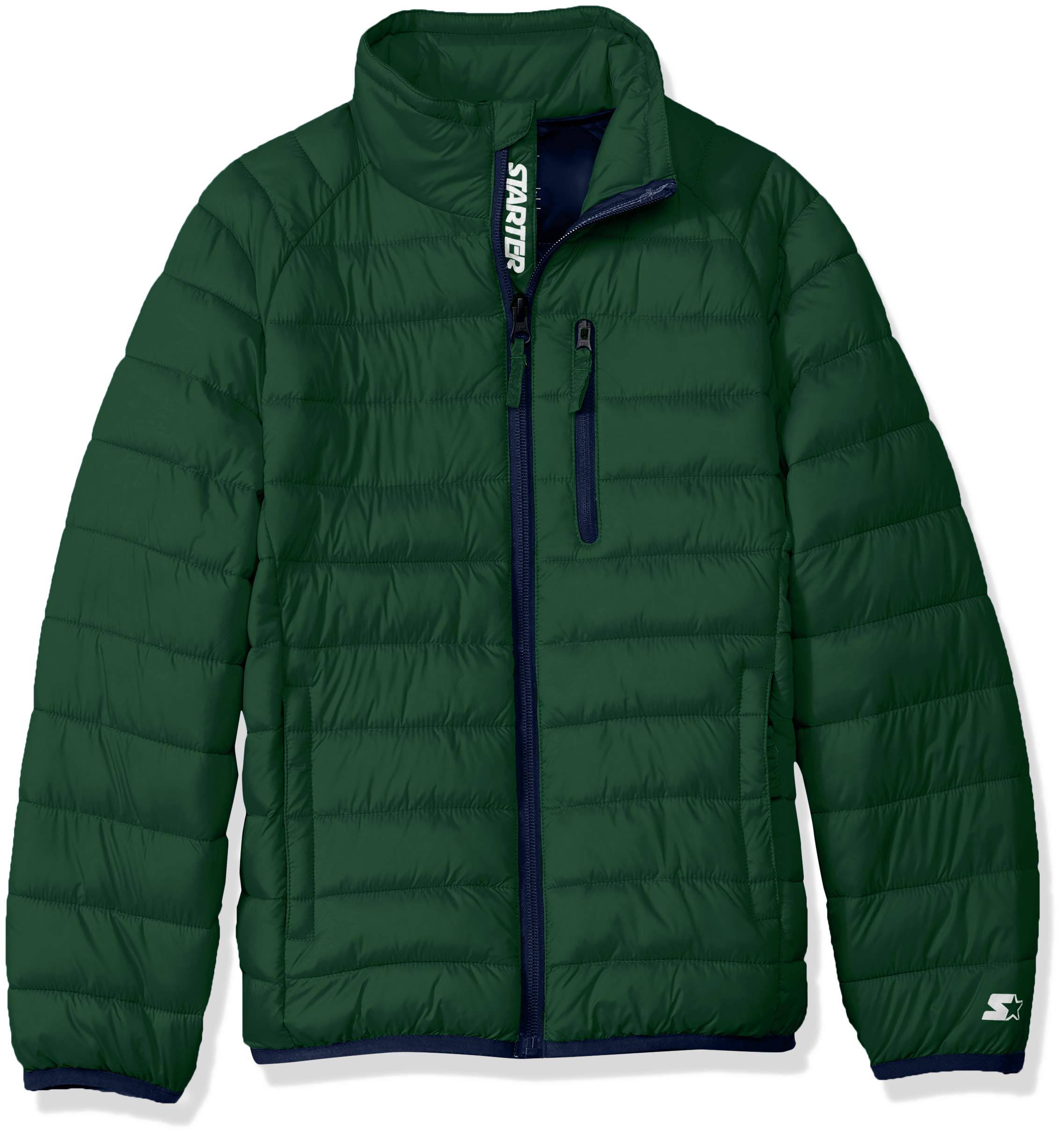 Starter Boys' Packable Puffer Jacket, Amazon Exclusive, Team Outfield Green, XS
