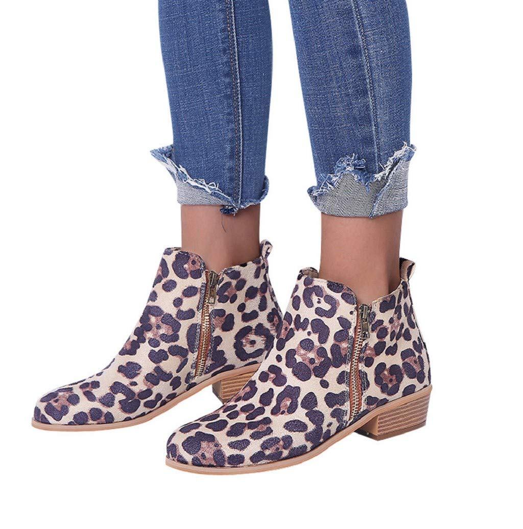 Photno Women's Cowboy Block Heel Side Zipper Leopard Ankle Booties-35-43 Multi-Code Multicolor Khaki