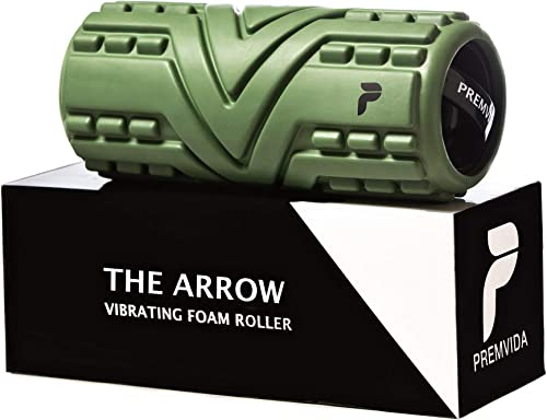 Premvida 3-Speed Vibrating Foam Roller - High Intensity Vibrating Massage Roller for Deep Muscle Recovery Deep Tissue Sports Massage, Electric Back Roller for Running, Mobility, Myofascial Release