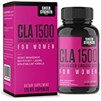 Extra Strength CLA for Women - 1500mg High Potency Weight Loss Supplement - Conjugated Lineolic Acid from Safflower Oil - Non-GMO + Stimulant-Free - 120 Softgels - Sheer Strength Labs