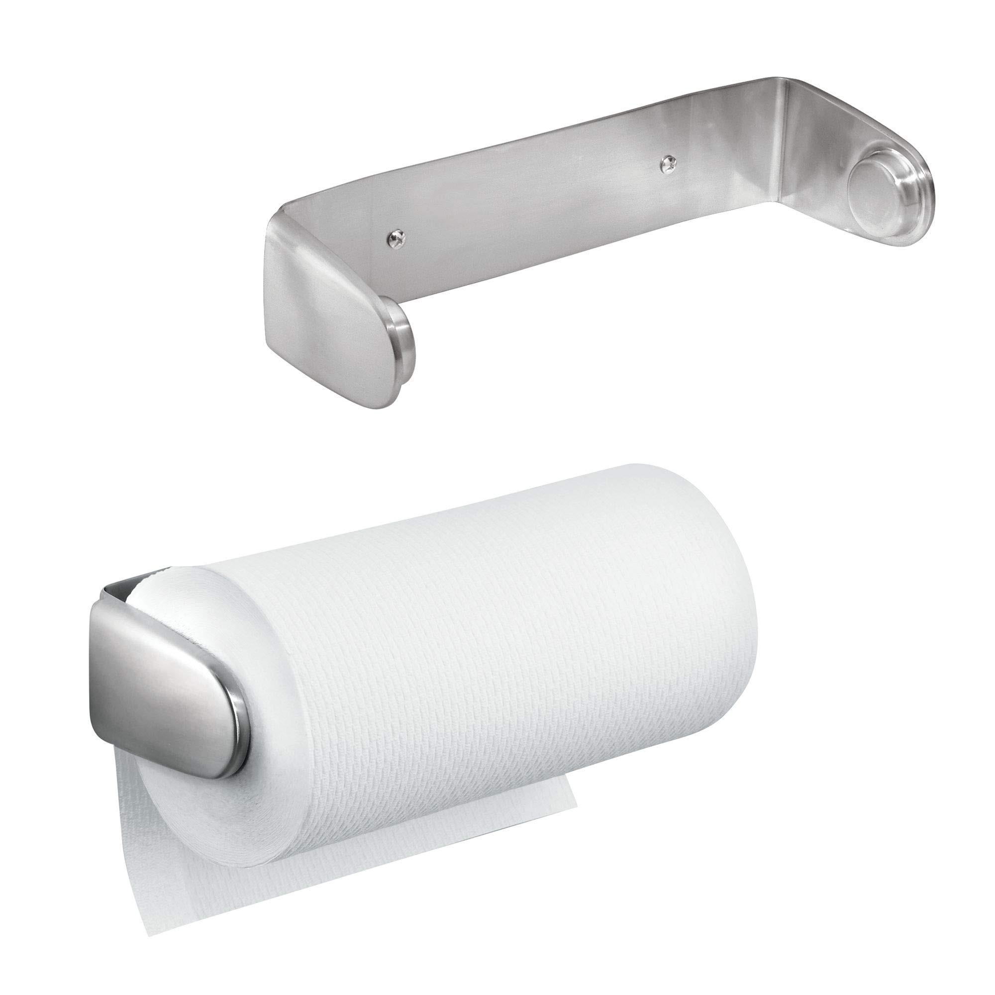 mDesign Wall Mount Paper Towel Holder & Dispenser, Mounts to Wall or Under Cabinet - for Kitchen, Pantry, Utility Room, Laundry, Garage Storage - Holds Jumbo Rolls, Pack of 2, Brushed Stainless Steel