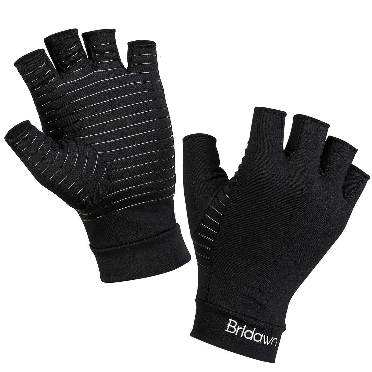 Bridawn Arthritis Compression Gloves Copper Fit Gloves Women Men High Copper Infused Fingerless for Pain Relief Rheumatoid Arthritis Hand Carpal Tunnel RSI Osteoarthritis Computer Typing, L by Bridawn