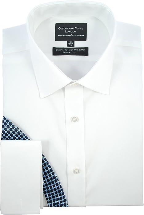 100/% Cotton COLLAR AND CUFFS LONDON Blue Men/'s Shirt NON-IRON Slim Fit