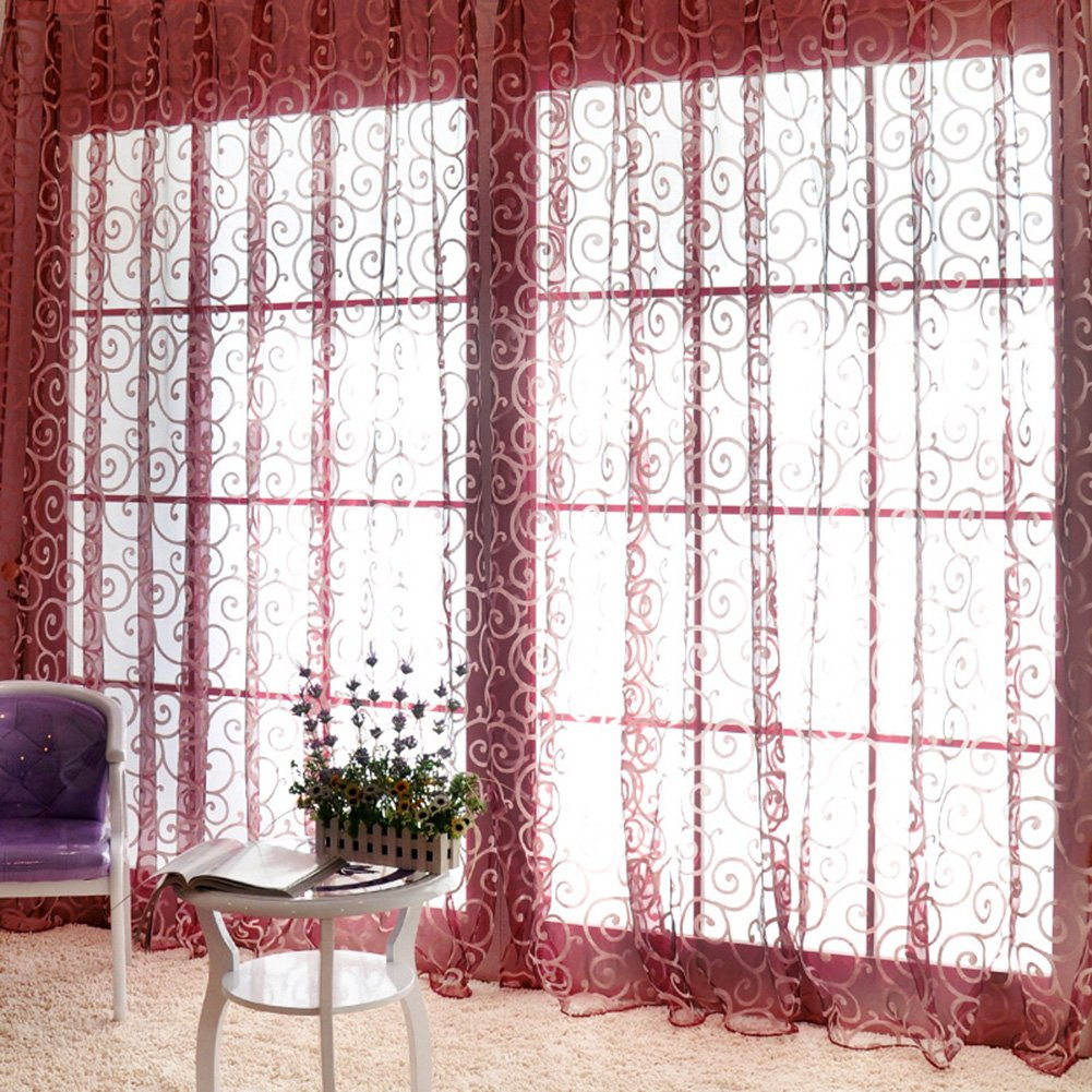 Etosell Scarf Door Window Floral Drape Panel Voile Valance Sheer Curtain Black by Etosell