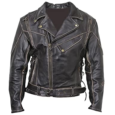 dbaa0366efaf Classic Black Vintage Distressed Bomber Men s Biker Original Leather Jacket  for Sale on Amazon